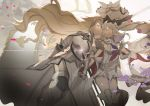 2girls armor bangs bare_shoulders boots closed_eyes dress facing_another fate/grand_order fate_(series) flag flower gauntlets gleam hair_flower hair_ornament hand_holding headpiece jeanne_d'arc_(fate) jeanne_d'arc_(fate)_(all) large_hat long_hair marie_antoinette_(fate/grand_order) multiple_girls no-kan pink_flower pink_rose rose smile sword thigh-highs thigh_boots twintails very_long_hair weapon white_dress yuri