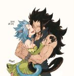 1boy 1girl animal_ears black_hair blue_hair bracelet breasts brown_nails cat_day cat_ears cat_tail choker closed_eyes couple detached_sleeves dress ear_piercing fairy_tail gajeel_redfox green_dress grin hug jewelry levy_mcgarden long_hair medium_breasts nail_polish nose_piercing open_mouth piercing rusky scar short_dress sideboob signature simple_background sleeveless sleeveless_dress smile standing strapless strapless_dress tail tattoo very_long_hair white_background