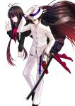 1boy 1girl absurdly_long_hair ahoge arm_up bangs black_footwear black_hair black_scarf black_shirt black_skirt buttons closed_mouth expressionless eyebrows_visible_through_hair fate_(series) flying gloves gradient_hair grey_eyes gun hair_between_eyes hand_in_pocket hand_on_headwear hat highres holster jacket katana koha-ace long_hair long_sleeves looking_at_viewer looking_to_the_side low_ponytail multicolored_hair neckerchief no_shoes one_leg_raised oryuu_(fate) pale_skin pants pink_eyes pleated_skirt ponytail red_jacket red_legwear red_neckwear redhead sakamoto_ryouma_(fate) scabbard scarf sheath sheathed shiguru shiny shiny_hair shirt sidelocks simple_background skirt slit_pupils smile standing straight_hair sword thigh_holster tsurime v very_long_hair weapon white_background white_gloves white_hat white_pants