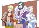 3boys asymmetrical_sleeves beard black_hair blonde_hair chest_hair commentary_request crossed_arms facial_hair father's_day ghira_belladonna iesupa jacques_schnee multiple_boys mustache rwby stubble taiyang_xiao_long white_hair