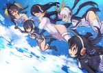 5girls :d black_footwear black_hair blonde_hair blue_sky boots breasts cleavage clouds drawstring emperor_penguin_(kemono_friends) eyebrows_visible_through_hair falling gentoo_penguin_(kemono_friends) guchico hair_between_eyes hair_over_one_eye hand_holding headphones highleg highleg_leotard hood hoodie humboldt_penguin_(kemono_friends) impossible_clothes impossible_leotard kemono_friends leotard long_hair multicolored_hair multiple_girls open_mouth orange_hair penguin_tail penguins_performance_project_(kemono_friends) pink_footwear pink_hair red_eyes redhead rockhopper_penguin_(kemono_friends) royal_penguin_(kemono_friends) sketch sky smile streaked_hair tail turtleneck white_hair