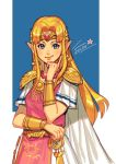 blonde_hair blue_eyes dress earrings jewelry looking_at_viewer mella one_eye_closed pink_shirt pointy_ears princess_zelda shirt simple_background smile smirk super_smash_bros. the_legend_of_zelda the_legend_of_zelda:_a_link_between_worlds tiara