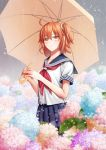 1girl blue_skirt blush clouds cloudy_sky collarbone eyebrows_visible_through_hair fate/grand_order fate_(series) field flower flower_field fujimaru_ritsuka_(female) hair_between_eyes hair_ornament hair_scrunchie holding holding_umbrella looking_at_viewer miniskirt one_side_up orange_hair outdoors pixiv_fate/grand_order_contest_2 pleated_skirt rain sakurai_sakurako school_uniform scrunchie serafuku shirt short_hair short_sleeves skirt sky smile solo standing umbrella white_shirt yellow_eyes yellow_scrunchie