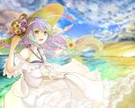 1girl bangs breasts clair_lasbard commentary_request dress fuyuto_(ihara_128) hat long_hair ocean sidelocks silver_hair solo star_ocean star_ocean_till_the_end_of_time white_dress