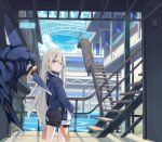 1girl bag bangs bridge day expressionless floating hair_between_eyes hands_in_pockets jacket long_hair looking_at_viewer looking_back mechanical original poco_(asahi_age) railing shark shorts sky solo stairs standing very_long_hair violet_eyes water white_hair