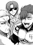 3boys fate_(series) formal greyscale hair_over_one_eye koha-ace li_shuwen_(lancer)_(fate) looking_at_viewer looking_back male_focus maxwell's_demon_(fate) monochrome mori_nagayoshi_(fate) multiple_boys open_mouth piroya_(shabushabu) smile spiky_hair suit sunglasses upper_body wrinkles