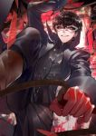 1boy amamiya_ren black_hair ichi_yasushi jacket looking_at_viewer male_focus mask persona persona_5 short_hair smile solo