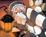1girl arm_sling bandage bangs black_dress black_hairband black_panties black_ribbon blurry blurry_background blurry_foreground boko_(girls_und_panzer) cast checkered checkered_floor commentary covered_mouth depth_of_field dress frilled_dress frills garter_straps girls_und_panzer gothic_lolita hair_ribbon hairband holding holding_stuffed_animal horizontal-striped_legwear lamp legs_up light_brown_eyes light_brown_hair light_particles lolita_fashion lolita_hairband long_hair long_sleeves looking_at_viewer lying not_on_shana on_back panties pantyshot pantyshot_(lying) pillow ribbon shimada_arisu solo striped striped_legwear stuffed_animal stuffed_toy teddy_bear thigh-highs underwear