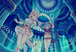 2girls :d :o animal_ears arch architecture bare_legs blonde_hair blue blue_hair blush bow bowtie cat_ears cat_tail column commentary_request dome elbow_gloves eyebrows_visible_through_hair feet_out_of_frame frilled_skirt frills from_below gloves hand_holding highres hood hoodie kemono_friends long_sleeves looking_at_another multicolored_hair multiple_girls neck_ribbon no_pants noah_(noxxxmo) nose_blush open_mouth pillar ribbon sand_cat_(kemono_friends) scenery short_hair skirt sleeveless smile snake_tail striped tail tsuchinoko_(kemono_friends)