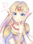 blonde_hair blue_eyes dress earrings highres jewelry looking_at_viewer one_eye_closed pink_shirt pointy_ears princess_zelda shirt simple_background smile smirk super_smash_bros. the_legend_of_zelda the_legend_of_zelda:_a_link_between_worlds tiara yasaikakiage