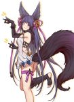 1girl :d animal_ears armlet ass backless_outfit bangs bare_shoulders bell black_footwear black_gloves black_hair blunt_bangs blush breasts commentary_request dress elbow_gloves erune eyebrows_visible_through_hair fox_ears fox_shadow_puppet fox_tail from_side full_body fur fur-trimmed_gloves fur_trim gloves granblue_fantasy grin hair_bell hair_ornament halterneck highres jingle_bell leg_ribbon leg_up long_hair looking_at_viewer medium_breasts microdress one_leg_raised open_mouth purple_ribbon red_eyes ribbon saboten simple_background smile solo standing standing_on_one_leg tail teeth toeless_legwear white_background white_dress yuel_(granblue_fantasy)