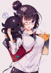 1girl ? bag bangs bespectacled black_hair blue_eyes breasts casual eyebrows_visible_through_hair fate/grand_order fate_(series) fine_art_parody glasses hair_bun hair_ornament heart highres hood hood_down hoodie katsushika_hokusai_(fate/grand_order) ko_yu medium_breasts nihonga octopus one_eye_closed open_mouth parody red-framed_eyewear semi-rimless_eyewear short_hair sketchbook smile solo spoken_question_mark under-rim_eyewear