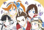 1boy 4girls :> :d black_hair blonde_hair blue_bow blue_eyes blue_neckwear bow brown_eyes character_request copyright_name goggles goggles_on_headwear green_eyes gyakuten_saiban gyakuten_saiban_6 hair_between_eyes hair_bow hairband helmet hizuki_akira kizuki_kokone long_hair multiple_girls naruhodou_minuki necktie odoroki_housuke open_mouth orange_hair pursed_lips rayfa_padma_khura'in red_scarf scarf side_ponytail smile sweatdrop vest