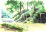 anchoku_0621 calligraphy_brush calligraphy_brush_(medium) commentary_request day forest grass highres nature no_humans original outdoors paintbrush river traditional_media tree watercolor_(medium)