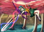 absurdres adapted_costume arrow bow_(weapon) chromatech cupid green_eyes green_hair hat highres huge_filesize komeiji_koishi looking_at_viewer midair quiver sandals skirt sleeveless touhou weapon