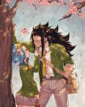 1boy 1girl a bag belt black_hair blazer blue_hair blush bow bowtie bracelet cherry_blossoms collarbone couple cowboy_shot dress_shirt eye_contact fairy_tail finger_to_another's_mouth flower gajeel_redfox green_blazer grey_pants grey_skirt grin hair_flower hair_ornament hand_in_pocket headband holding holding_bag index_finger_raised jacket jewelry leaning_forward levy_mcgarden long_hair looking_at_another miniskirt necktie open_blazer open_clothes open_jacket outdoors pantherlily pants pink_flower pleated_skirt rusky school_bag school_uniform shirt signature skirt smile standing sweatdrop very_long_hair white_flower white_shirt yellow_bow yellow_neckwear