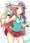 1girl aqua_skirt bag bare_shoulders blue_(pokemon) blush breasts cowboy_shot hat holding holding_poke_ball long_hair looking_at_viewer miniskirt orange_eyes poke_ball poke_ball_(generic) pokemon pokemon_(game) pokemon_frlg racket_ti1 red_skirt skirt sleeveless smile solo squirtle sun_hat super_smash_bros. text_focus translation_request very_long_hair wind wind_lift wristband