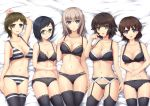 5girls adjusting_bra adjusting_clothes akaboshi_koume arm_up bangs bed_sheet black_bra black_eyes black_hair black_legwear black_panties blue_eyes bow bow_bra bow_panties bra breasts brown_eyes brown_hair chinese_commentary cleavage closed_mouth collarbone commentary_request crotch_seam eyebrows_visible_through_hair fingernails from_above garter_belt girls_und_panzer glasses gluteal_fold green_eyes hand_on_own_face hands_on_stomach highres horizontal-striped_bra horizontal-striped_panties itsumi_erika lace lace-trimmed_bra lace-trimmed_garter_belt lace-trimmed_panties lace-trimmed_thighhighs layered_panties light_frown long_hair looking_at_viewer lying mauko_(girls_und_panzer) medium_breasts multiple_girls navel on_back on_bed open_mouth panties panties_under_garter_belt parted_lips print_legwear ritaiko_(girls_und_panzer) sangou_(girls_und_panzer) short_hair silver_hair smile srwsrx_(gp03dsrx) string_panties striped striped_bra swept_bangs thigh-highs thigh_gap underwear underwear_only