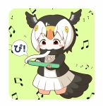 1girl atlantic_puffin_(kemono_friends) bangs beamed_eighth_notes bird_girl bird_tail bird_wings black_hair black_jacket black_scarf blazer blush_stickers bob_cut border breasts chibi commentary_request cropped_legs eighth_note eyebrows_visible_through_hair green_background head_wings highres holding holding_instrument instrument jacket kemono_friends keyboard_(instrument) long_sleeves looking_down melodica miniskirt multicolored_hair music musical_note necktie open_blazer open_clothes open_jacket parted_bangs playing_instrument pleated_skirt rakugakiraid red_eyes rounded_corners scarf short_hair simple_background skirt small_breasts solo speech_bubble sweater_vest tareme translated white_border white_hair white_neckwear white_skirt wings