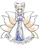 1girl animal_ears blonde_hair closed_mouth commentary_request dress eyebrows_visible_through_hair fox_ears fox_tail full_body hands_in_sleeves hat highres long_sleeves looking_at_viewer multiple_tails pillow_hat ray-k short_hair simple_background solo tabard tail touhou white_background white_dress yakumo_ran yellow_eyes
