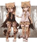 >:< 2girls black_hair black_shirt blonde_hair boots bow breast_pocket brown_hair cheetah_(kemono_friends) cheetah_ears cheetah_tail collared_shirt commentary_request elbow_gloves eyebrows_visible_through_hair gloves gradient_hair hand_in_front_of_face highres kemono_friends king_cheetah_(kemono_friends) kolshica long_hair multicolored_hair multiple_girls necktie pleated_skirt pocket shirt shoe_bow shoes short_sleeves skirt thigh-highs white_shirt zettai_ryouiki