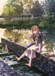 1girl animal bag bangs barefoot bf._(sogogiching) bird black_shirt brown_hair bush can commentary_request duck handbag holding holding_can lanyard original outdoors overall_skirt pond shirt shoes_removed short_hair short_sleeves sitting sitting_on_wall solo stone_wall tree wall