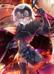1girl ahoge armor armored_dress bangs black_armor black_dress black_legwear breasts chains collar dress embers fate/grand_order fate_(series) faulds fire flag fur_trim gauntlets grin hair_between_eyes hand_up headpiece highres jeanne_d'arc_(alter)_(fate) jeanne_d'arc_(fate)_(all) large_breasts light_particles looking_at_viewer metal_collar naisho_na_zuku_doori pale_skin plackart sheath short_hair silver_hair smile solo sword thighs vambraces weapon yellow_eyes
