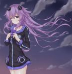1girl adult_neptune clouds cloudy_sky collarbone commentary commentary_request cowboy_shot crying crying_with_eyes_open d-pad d-pad_hair_ornament evening frown hair_between_eyes hair_ornament hinakurukuru holding_notepad hood hooded_jacket jacket long_hair looking_at_viewer neptune_(series) notepad outdoors purple_hair shin_jigen_game_neptune_vii sky solo tears violet_eyes