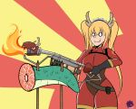 absurdres blonde_hair cosplay crossover dragon dragon_girl dragon_horns dragon_tail fangs fire flamethrower frank_araya gloves gradient_hair highres horns kobayashi-san_chi_no_maidragon long_hair maid_headdress multicolored_hair orange_hair tail team_fortress_2 the_pyro the_pyro_(cosplay) tooru_(maidragon) twintails weapon