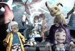 2boys 3girls ^_^ acerola_(pokemon) adjusting_clothes adjusting_hat ahoge bewear brown_hair closed_eyes dark_skin earrings facial_hair golf_club green_eyes grey_eyes grin hair_ornament hairclip hala_(pokemon) hand_on_hip hat highres jewelry kahili_(pokemon) lightning_bolt long_hair lycanroc lychee_(pokemon) mimikyu multiple_boys multiple_girls mustache open_mouth pokemon pokemon_(game) pokemon_on_head pokemon_sm purple_hair ruun_(abcdeffff) sandals short_hair short_shorts shorts silver_hair sitting skarmory smile throne visor_cap white_hair you_(pokemon)