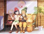 1boy 1girl :d ^_^ ^o^ alolan_raichu bag bangs beanie bench black_hair black_shirt closed_eyes collarbone day eating facing_viewer feeding floral_print full_body gen_7_pokemon green_hair green_shorts grey_eyes hand_up hat hau_(pokemon) holding_foot looking_at_another mei_(maysroom) mizuki_(pokemon) open_mouth orange_footwear orange_pants outdoors pants plant pokemon pokemon_(creature) pokemon_(game) pokemon_sm potted_plant print_pants print_shirt red_hat round_teeth rowlet shirt shoes short_hair short_sleeves shorts sidelocks sitting smile sneakers swept_bangs t-shirt teeth tied_shirt topknot trash_can window yellow_shirt