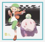 1girl :d bag bel_(pokemon) blonde_hair clenched_hand gen_5_pokemon glasses green_eyes green_hair hand_up handbag highres holding holding_poke_ball jacket musharna nomura_(buroriidesu) open_mouth orange_footwear orange_jacket poke_ball poke_ball_(generic) pokeball_symbol pokemon pokemon_(creature) pokemon_(game) pokemon_bw2 shoes smile solo solosis standing standing_on_one_leg