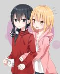 2girls black_eyes black_hair blonde_hair brown_eyes commentary_request cup frown hair_bead hair_ornament highres holding holding_cup hood hoodie long_hair mechanical_arm medium_hair multiple_girls open_mouth original piripun signature