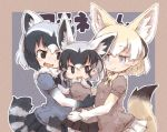 3girls :d animal_ears black_eyes black_hair blonde_hair blue_eyes borrowed_character closed_eyes commentary_request common_raccoon_(kemono_friends) extra_ears fang fennec_(kemono_friends) fox_ears fox_tail girl_sandwich grey_hair group_hug hug if_they_mated kemono_friends kolshica multicolored_hair multiple_girls open_mouth outline pleated_skirt puffy_short_sleeves puffy_sleeves raccoon_ears raccoon_tail sandwiched short_hair short_sleeves skirt smile tail white_hair white_outline
