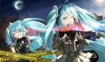 2girls absurdres ahoge assault_rifle blue_eyes blue_hair caution_tape clone gloves gun hair_between_eyes hatsune_miku highres icefurs keep_out long_hair military_operator multiple_girls open_mouth rifle scope skirt twintails very_long_hair vocaloid weapon