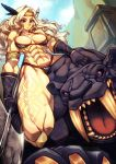 1girl amazon_(dragon's_crown) animal armlet armor bikini bikini_armor black_gloves black_panther blonde_hair breasts circlet dragon's_crown feathers from_above gloves hair_feathers halberd koi_drake leg_tattoo looking_at_viewer medium_breasts muscle muscular_female panther polearm riding straddling swimsuit tattoo thick_thighs thighs thong_bikini weapon