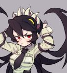 1girl black_hair commentary_request filia_(skullgirls) gazacy_(dai) grey_background hand_behind_head highres living_hair necktie pocket pout red_eyes samson_(skullgirls) sharp_teeth skullgirls sweat teeth