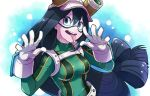1girl asui_tsuyu black_hair blue_background boku_no_hero_academia breasts gloves goggles goggles_on_headwear green_eyes hair_between_eyes hat long_hair looking_at_viewer low-tied_long_hair medium_breasts sizimi_mi solo tongue tongue_out upper_body very_long_hair white_gloves white_hat
