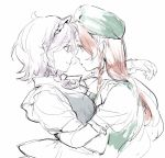 2girls asakura_noi braid brown_hair eye_contact forehead-to-forehead grey_hair hat hong_meiling izayoi_sakuya looking_at_another maid_headdress multiple_girls short_braid single_braid sketch smile touhou upper_body white_background yuri