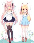 2girls :d animal_ears black_legwear black_ribbon blonde_hair blue_eyes boots cat_ears commentary eyebrows_visible_through_hair fox_ears fox_tail frills hair_between_eyes hair_ribbon long_hair looking_at_viewer medium_hair multiple_girls open_mouth original pink_hair red_eyes ribbon sazaki_ichiri shoes simple_background smile tail thigh-highs twintails very_long_hair white_background white_legwear zettai_ryouiki