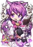 aisha_(elsword) animal_ears book cat_ears chibi elemental_master_(elsword) elsword flower glitter pika_(kai9464) smile staff tagme