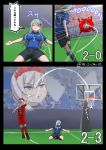 2018_fifa_world_cup 2girls alternate_costume azur_lane ball basketball basketball_hoop basketball_uniform belfast_(azur_lane) comic commentary_request enemy_lifebuoy_(kantai_collection) goal goalkeeper green_hair hair_ornament hairclip highres jumping kantai_collection long_hair misumi_(niku-kyu) multiple_girls outdoors shorts silver_hair soccer soccer_ball soccer_field soccer_uniform sportswear suzuya_(kantai_collection) translated twitter_username violet_eyes world_cup