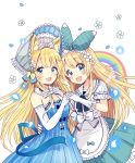 2girls :d absurdres animal_ears apron arm_around_waist back_bow bangs black_neckwear blonde_hair blue_dress blue_eyes blue_ribbon blush bonnet bow detached_collar dress elbow_gloves flower food_themed_hair_ornament fox_ears frilled_skirt frills gloves hair_bow hair_flower hair_ornament hair_ribbon hairband hairclip hand_holding highres long_hair looking_at_viewer multiple_girls neck_ribbon open_mouth original petals rainbow ribbon sakura_oriko short_sleeves skirt smile strapless strapless_dress strawberry_hair_ornament white_apron white_gloves white_neckwear