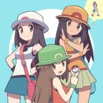 2girls agata_(agatha) bag blue_(pokemon) brown_eyes brown_hair color_switch hat holding holding_poke_ball long_hair looking_at_viewer mizuki_(pokemon) multiple_girls multiple_persona orange_shirt pleated_skirt poke_ball pokemon pokemon_(game) pokemon_bw pokemon_emerald pokemon_frlg pokemon_rgby pokemon_rse pokemon_usum porkpie_hat red_shirt shirt shoulder_bag sidelocks skirt sleeveless sleeveless_shirt super_smash_bros. undershirt white_shirt wristband