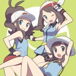 3girls agata_(agatha) armpits bandanna bangs bare_legs baseball_cap black_eyes blue_(pokemon) blue_eyes blush braid brown_hair color_switch gloves haruka_(pokemon) hat holding holding_poke_ball long_hair looking_at_viewer mizuki_(pokemon) multiple_girls one_eye_closed open_mouth poke_ball pokemon pokemon_(game) pokemon_bw pokemon_emerald pokemon_rgby pokemon_rse pokemon_usum ponytail premier_ball red_shorts shirt shorts sleeveless sleeveless_shirt smile sun_hat super_smash_bros. swept_bangs touko_(pokemon) white_gloves wristband