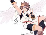 1boy blue_eyes bracer brown_hair eri_(erikiri) gloves highres kid_icarus looking_at_viewer male_focus multiple_boys one_eye_closed pit_(kid_icarus) short_hair simple_background smile solo white_background wings