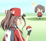 !? 2girls alternate_costume backpack bag baseball_cap black_gloves brown_eyes brown_hair fingerless_gloves gloves hat holding holding_poke_ball jacket kantai_collection multiple_girls nedia_(nedia_region) open_mouth poke_ball poke_ball_(generic) pokemon pokemon_(game) ryuujou_(kantai_collection) track_jacket twintails zuihou_(kantai_collection)