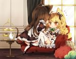 2girls alternate_costume animal_ears black_dress black_footwear black_ribbon blonde_hair blush bow bowtie braid brown_eyes brown_hair cake cat_ears cat_tail chibi commentary_request couch cup curtains dress enmaided eye_contact eyebrows_visible_through_hair food from_behind full_body green_bow green_neckwear hair_between_eyes hair_bow hair_ribbon hakurei_reimu indoors kemonomimi_mode kirisame_marisa long_hair looking_at_another maid maid_headdress mary_janes multiple_girls petticoat pillow piyokichi profile puffy_short_sleeves puffy_sleeves ribbon shoes short_sleeves single_braid sitting table tail teacup thigh-highs touhou wavy_hair white_bow white_legwear window wrist_cuffs yarn yarn_ball yellow_eyes yuri zettai_ryouiki