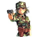 1girl absurdres aiming blonde_hair blue_eyes blurry camouflage gun handgun hat highres holding holding_gun holding_weapon holster longmei_er_de_tuzi military military_hat military_uniform original pistol smile solo uniform weapon white_background