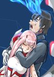 1boy 1girl bangs black_hair blossomppg blue_horns bodysuit breasts broken_horn closed_eyes commentary couple crying darling_in_the_franxx hand_on_another's_arm hand_on_another's_face hetero highres hiro_(darling_in_the_franxx) horns hug hug_from_behind long_hair medium_breasts oni_horns pink_hair red_horns short_hair signature tears torn_bodysuit torn_clothes zero_two_(darling_in_the_franxx)